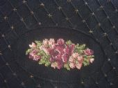 1930's Black Crepe Clutch Purse with Austrian Petit Point Embroidery